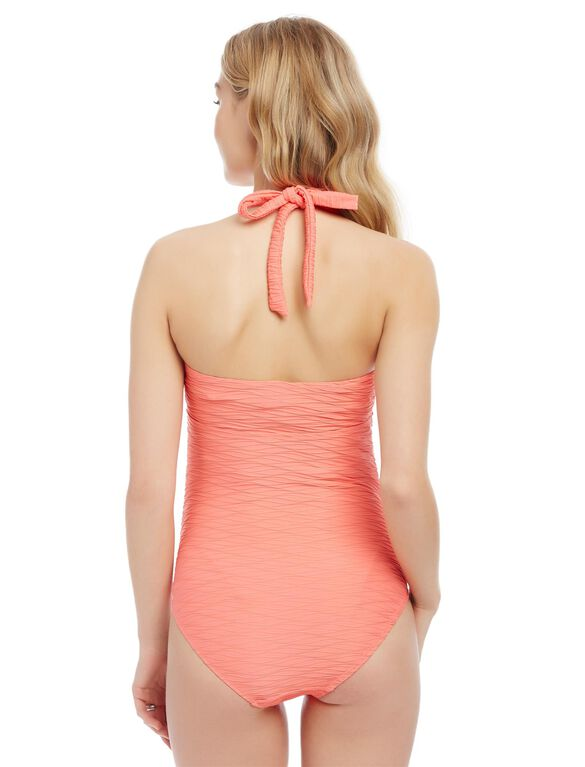 Sweetheart Detail Maternity One Piece Swimsuit, Coral