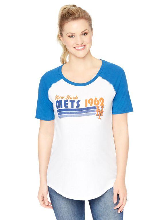 New York Mets MLB Elbow Sleeve Maternity Graphic Tee, Mets