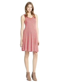 Jessica Simpson Sleeveless Striped Maternity Dress, Red