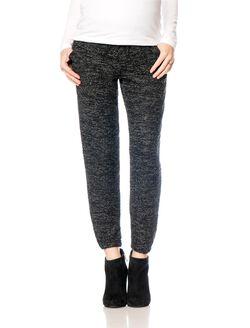 No Belly Slim Leg Maternity Pants, Black Print