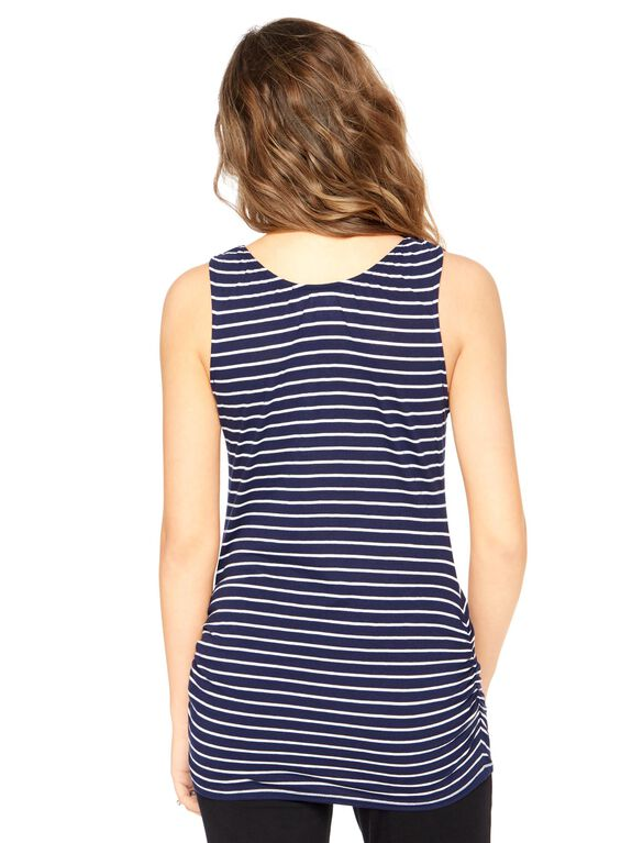 V-neck Pull Down Nursing Tank Top, Navy/White Stripe
