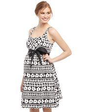 Bow Detail Maternity Dress- Black/White Floral, Black And White