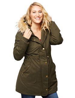 Faux Fur Hooded Maternity Coat, Olive