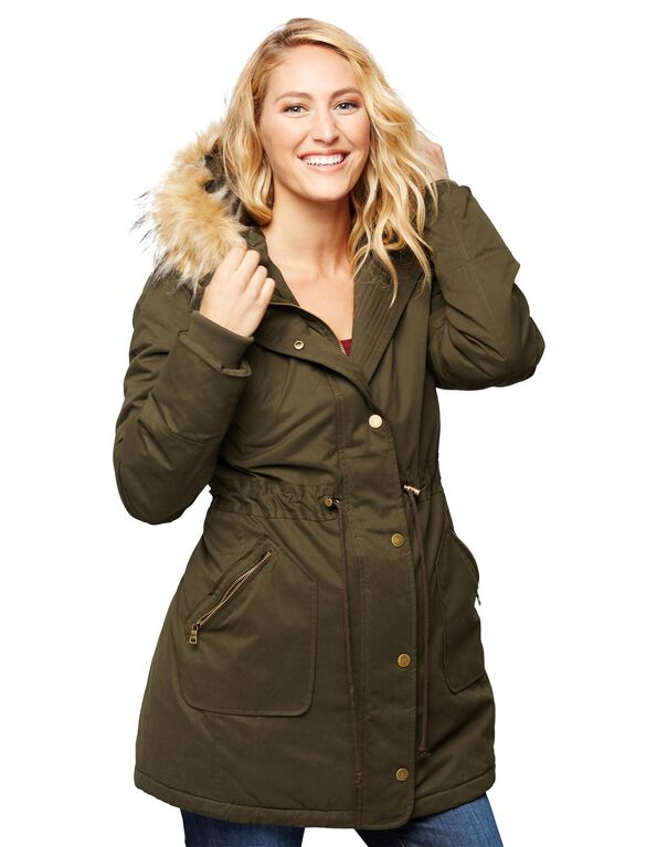 Faux Fur Hooded Maternity Coat, Olive