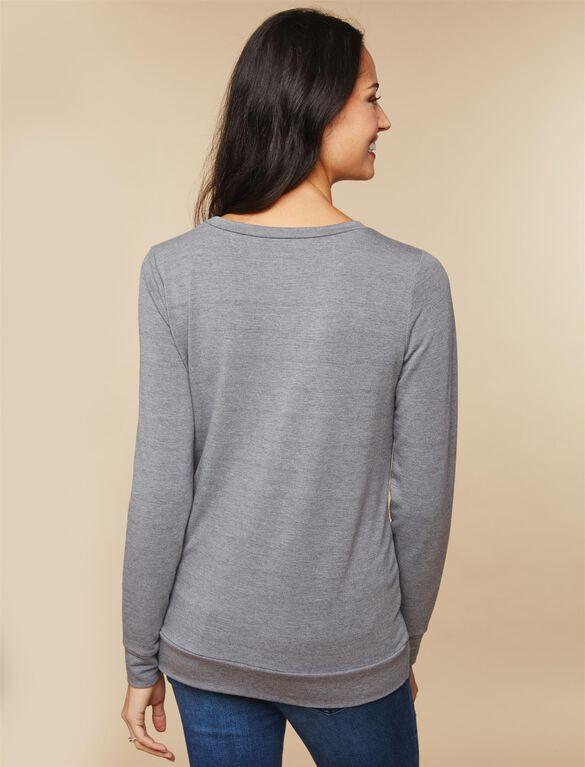 Bow Maternity Sweatshirt, Gray