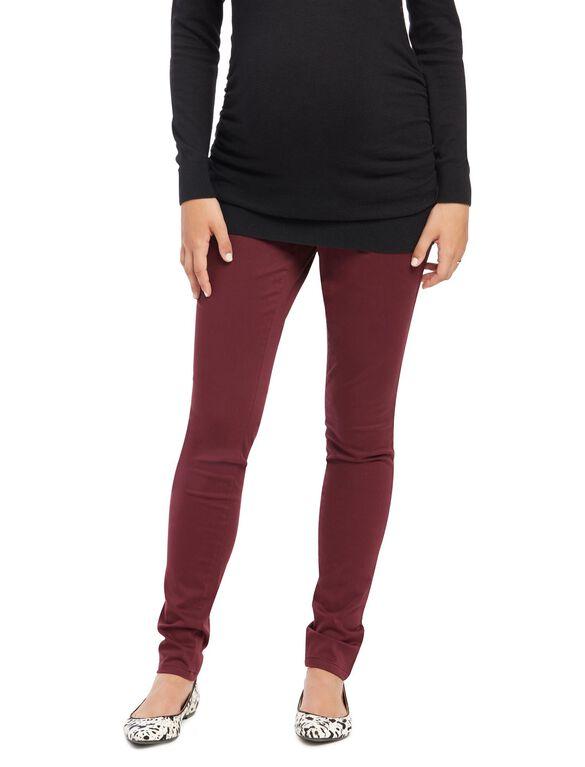 Secret Fit Belly Sateen Skinny Maternity Pants, Pinot Noir