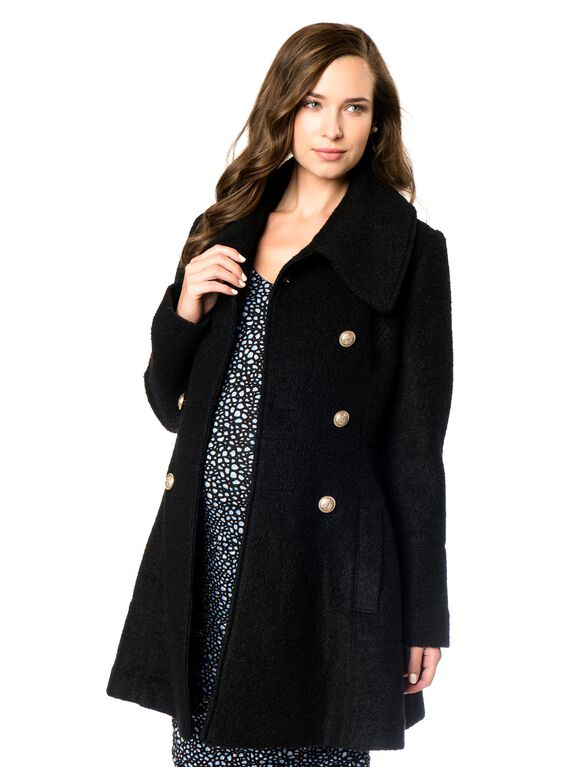 Button Detail Boucle Maternity Coat, Black
