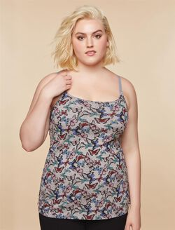 Plus Size Clip Down Nursing Cami, Grey Butterfly Print