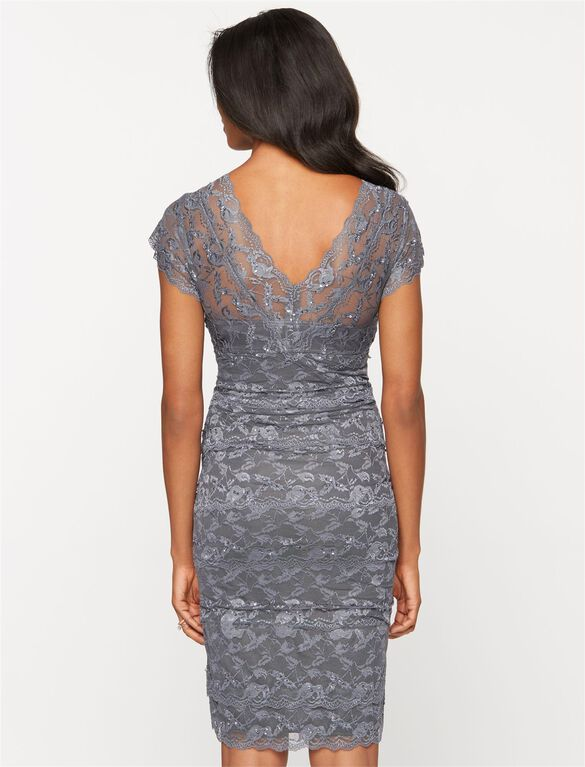 Lace Trim Maternity Dress, Gunmetal
