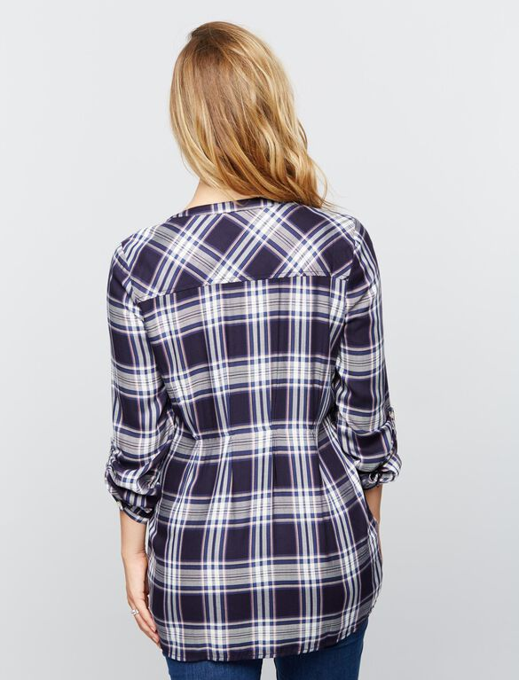 Luxe Essentials Denim Plaid Convertible Maternity Shirt- Navy, Navy Plaid