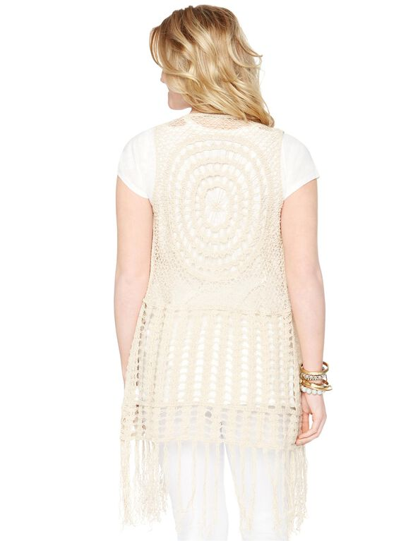 Wendy Bellissimo Crochet Detail Cotton Woven Maternity Vest, Cream