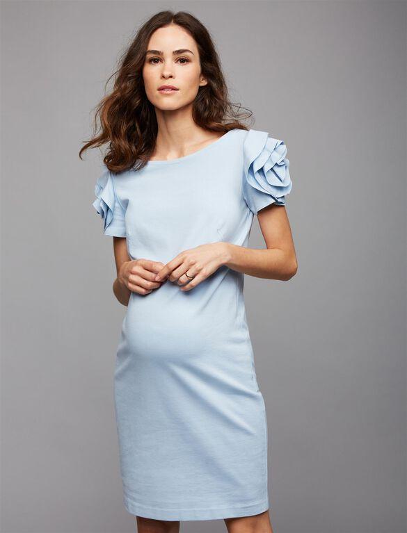 Pietro Brunelli Ruffled Maternity Dress, Blue