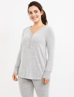 Henley Maternity Sleep Top, Grey
