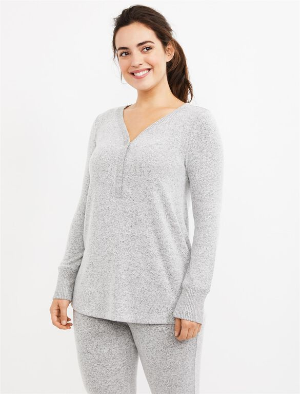 Henley Maternity Sleep Top, Grey