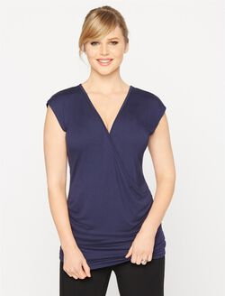 Faux Wrap Cap Sleeve Nursing Sleep Top, Navy