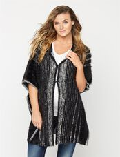 Poncho Wool Maternity Jacket, Black
