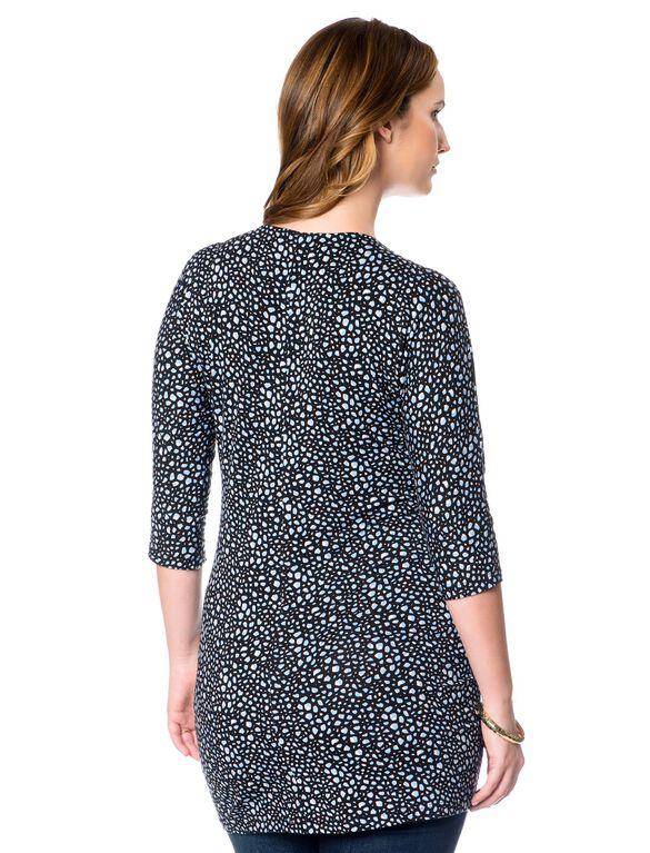 Dolman Sleeve Maternity Tunic, French Blue Print
