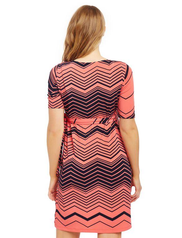 Waist Tie Surplice Maternity Dress- Zig Zag Print, Navy/Coral Zig Zag