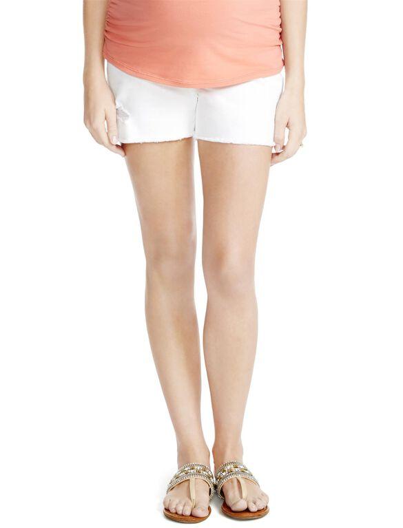 Jessica Simpson Secret Fit Belly White Denim Maternity Shorts, White