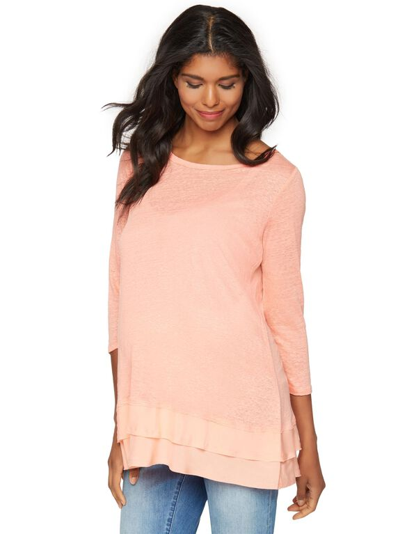 Knit Woven 3/4 Sleeve Maternity Top, Peach Fizz