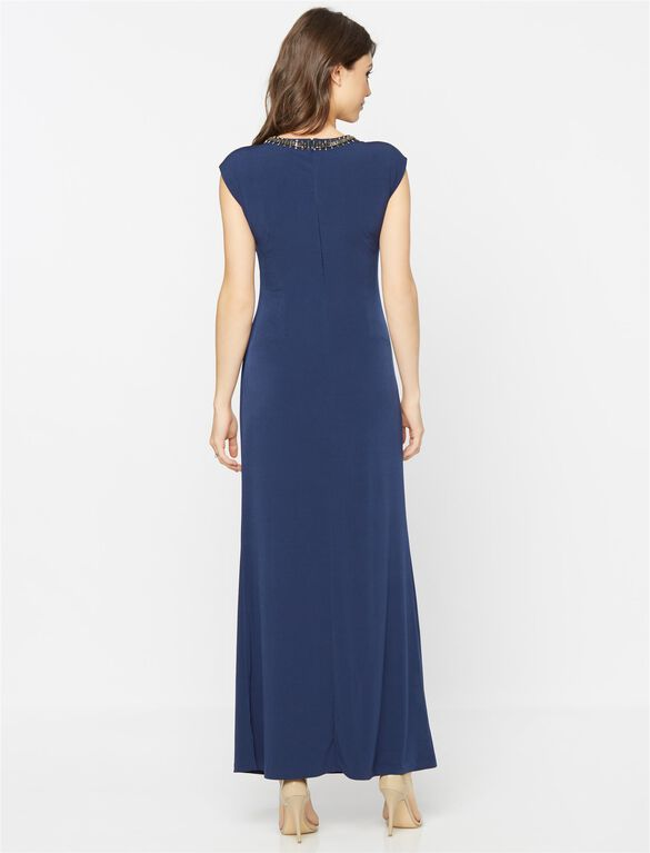Embellished Maternity Maxi Dress, Navy