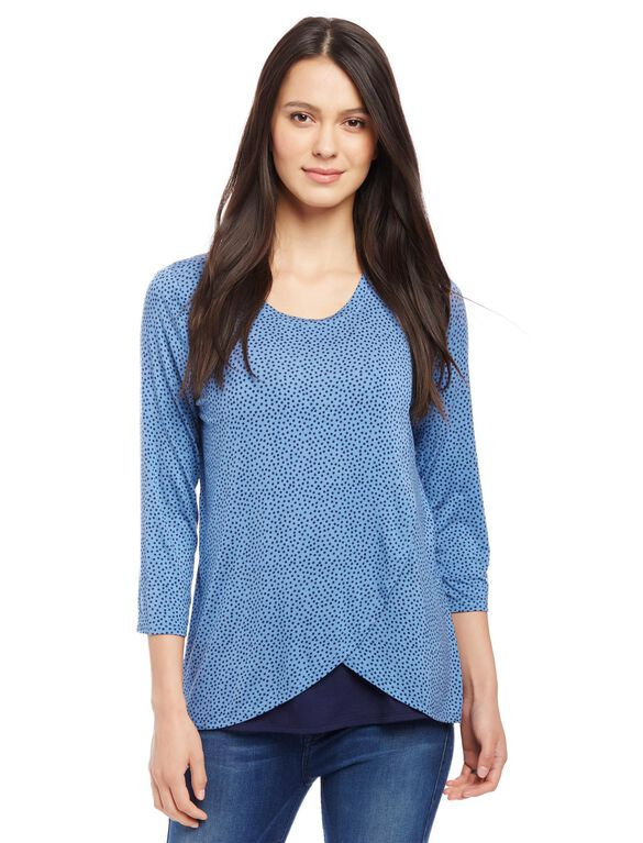 Lift Up Mock Layer Nursing Top- Dot Print, Dutch Blue Dot