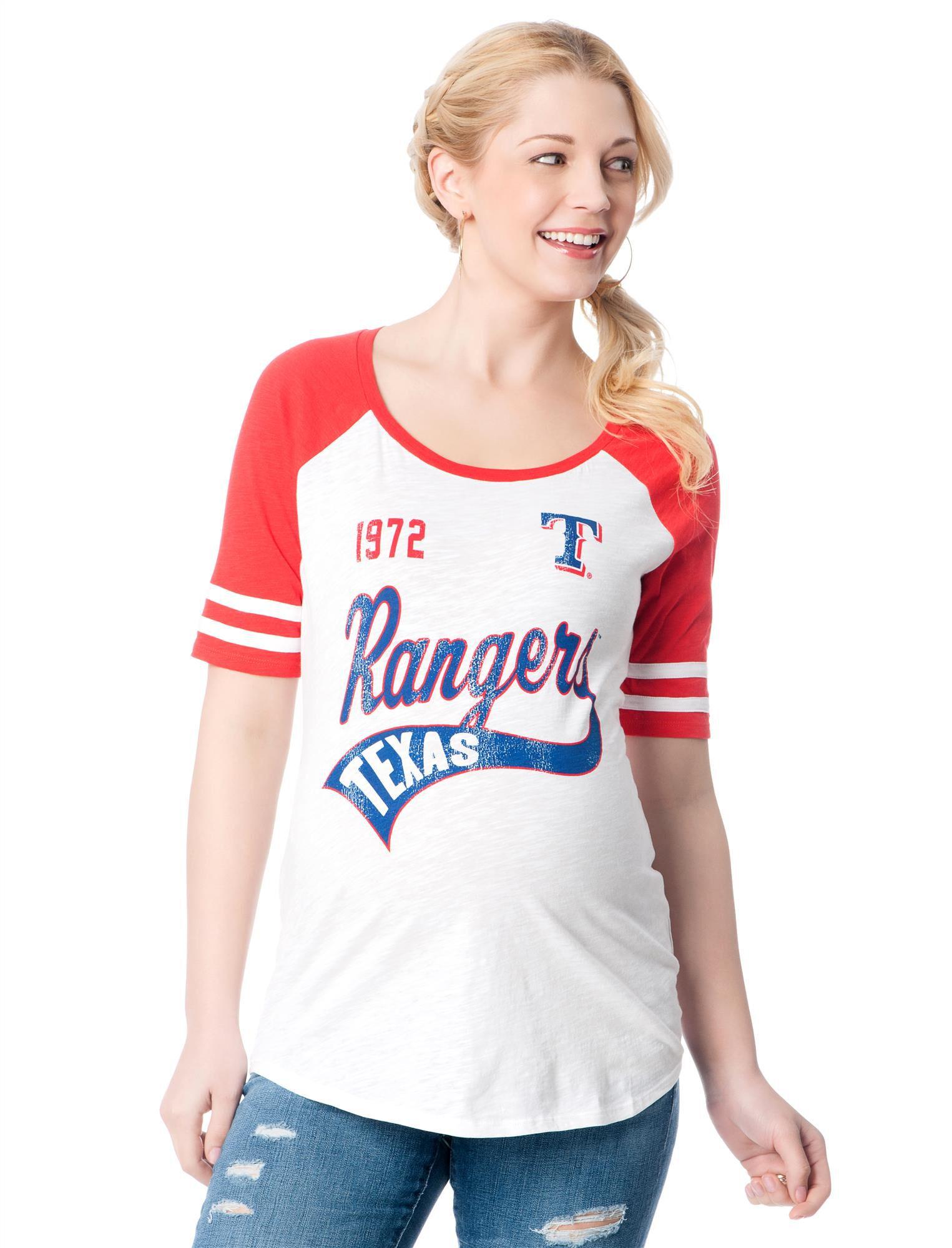 Texas Rangers MLB Raglan Sleeve Maternity Tee