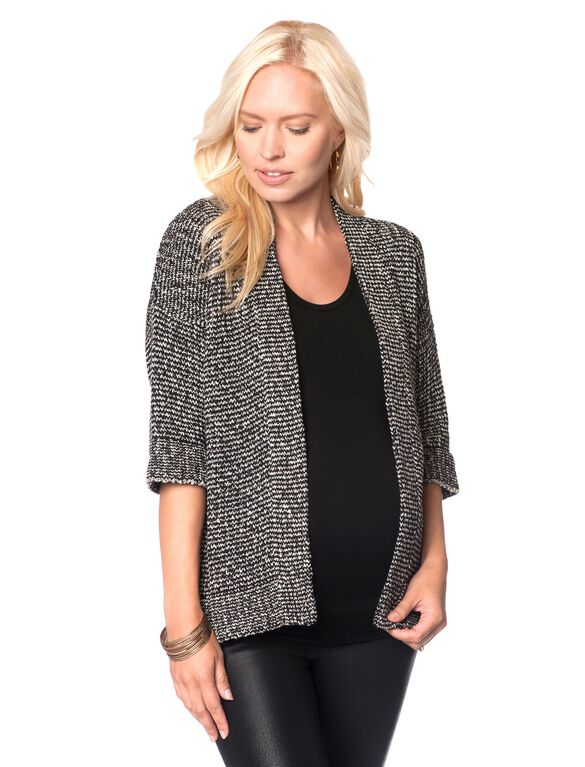 Open Front Maternity Cardigan, Black/White Marl