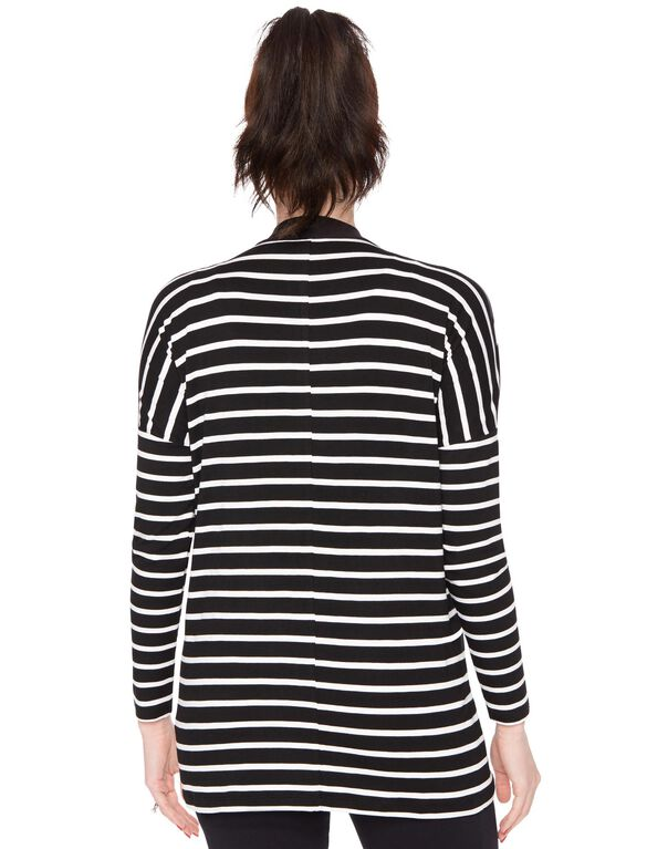 Bumpstart Open Front Drape Maternity Cardigan, Black W White Stripe