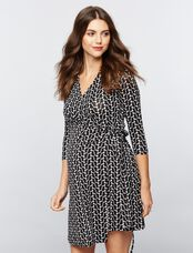 Seraphine Side Tie Maternity Dress, Black/White Print