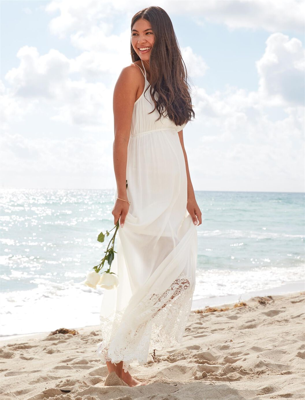 Lace Hem Maternity Maxi Dress at Motherhood Maternity in Victor, NY | Tuggl