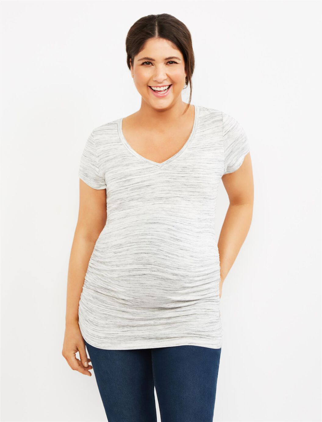 Spacedye Side Ruched Maternity Tee- Grey at Motherhood Maternity in Victor, NY   Tuggl