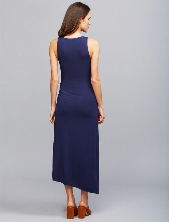 Knot Front Maternity Maxi Dress- Navy, Navy