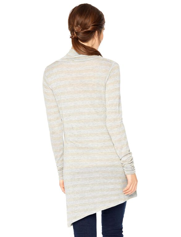 Cowl Striped Maternity Tee- Oat/Gold, Oat / Gold