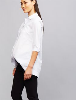 Soon Button Down Maternity Shirt, White