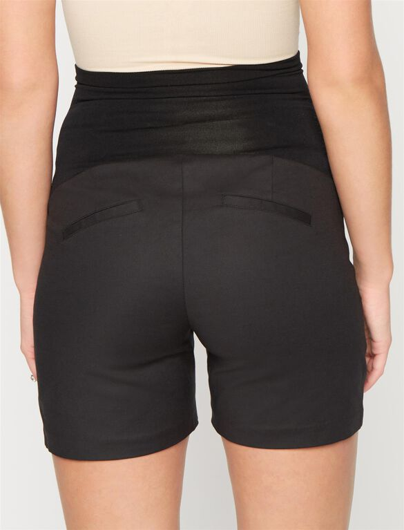 Secret Fit Belly Sateen Maternity Shorts- Black, Black