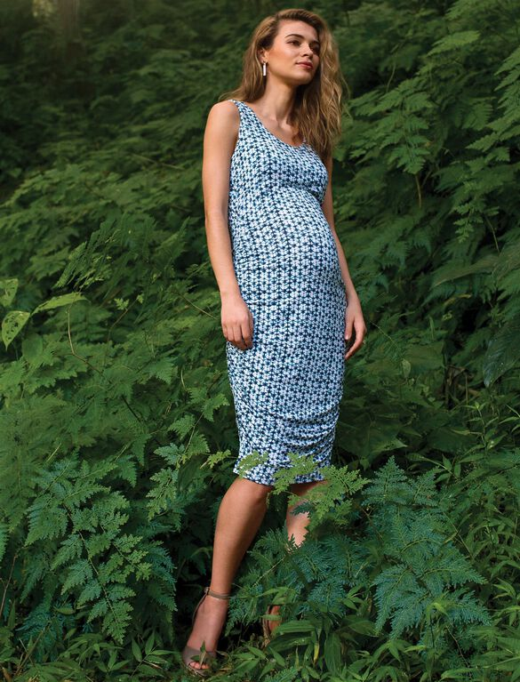Sleeveless Side Ruched Maternity Dress- Blue Water Print, Blue Water Print