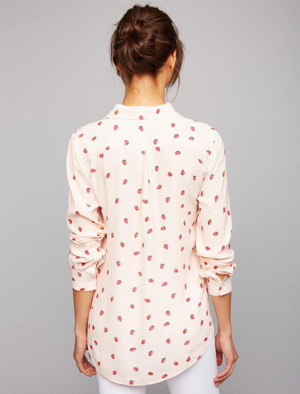 Rails Strawberry Maternity Shirt, Strawberry Print