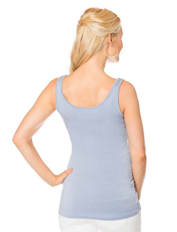 Luxe Essentials Shelf Bra Maternity Tank Top, Blue