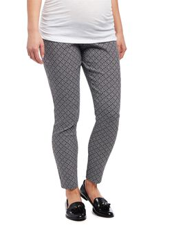 Secret Fit Belly Skinny Ankle Maternity Pants- Print, Black/White Geo