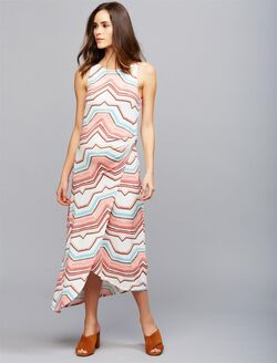 Tart Knot Front Maternity Maxi Dress, Orange Aztec Prnt