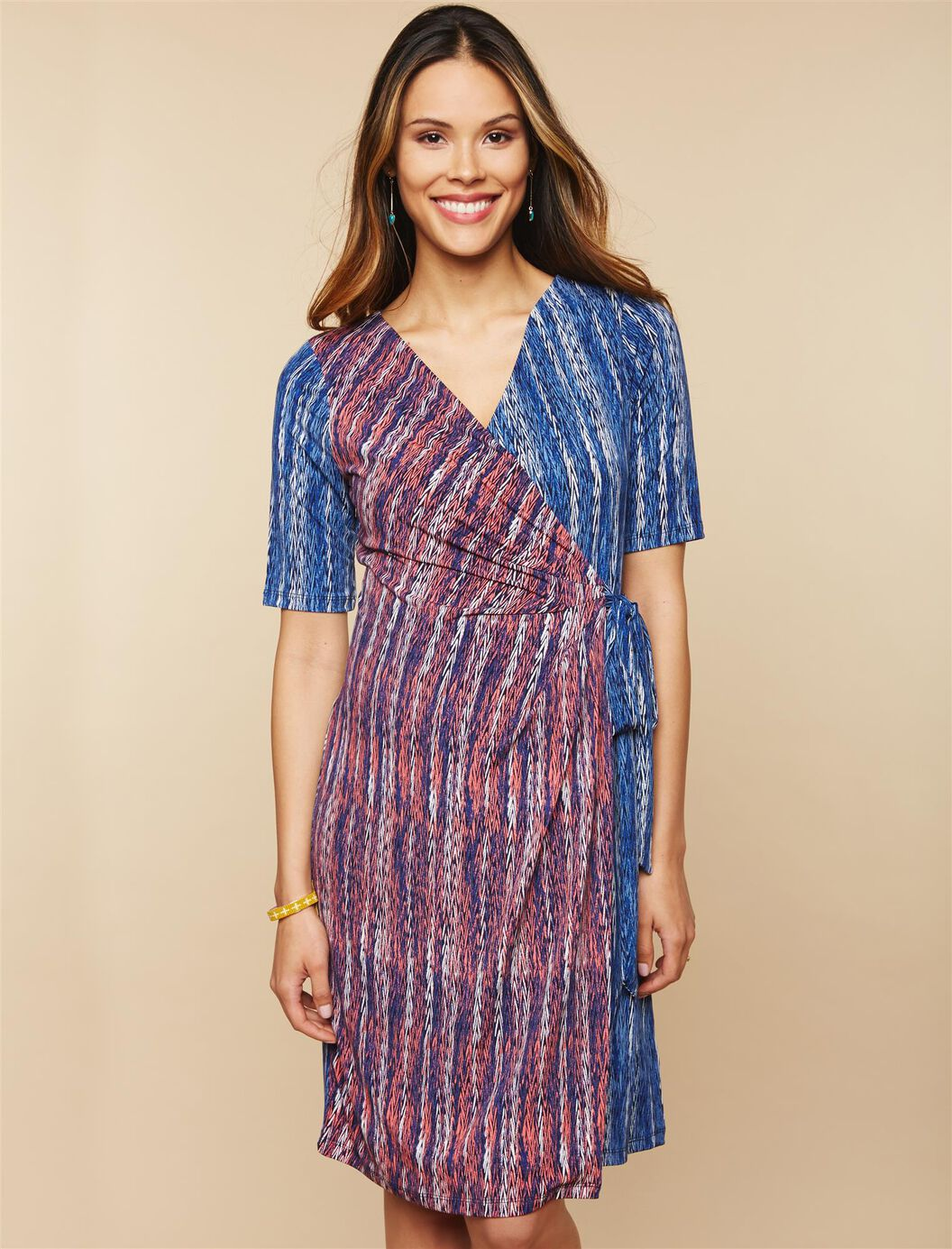 Waist Tie Surplice Maternity Dress- Red Print at Motherhood Maternity in Victor, NY | Tuggl