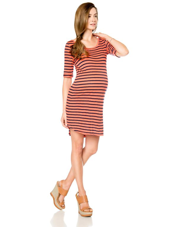 Splendid Maternity Dress, Navy/Orange Stripe