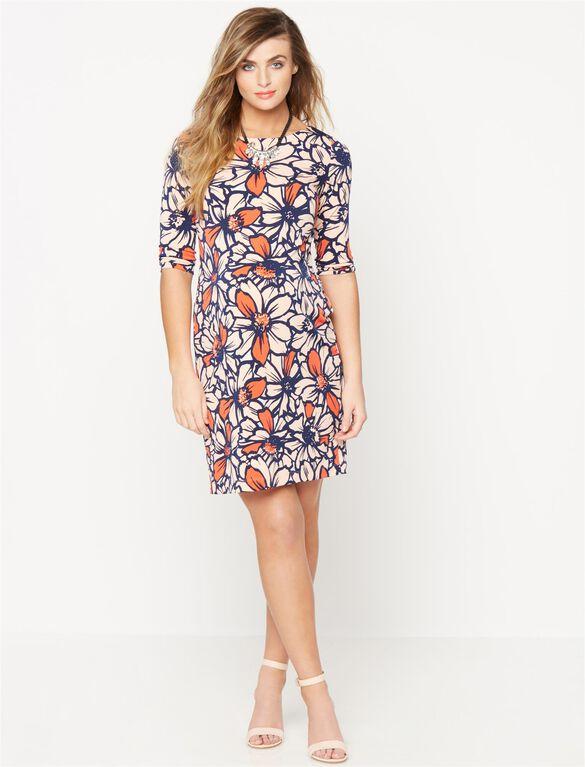 Taylor Boat Neck Maternity Shift Dress- Floral, Grenadine Floral