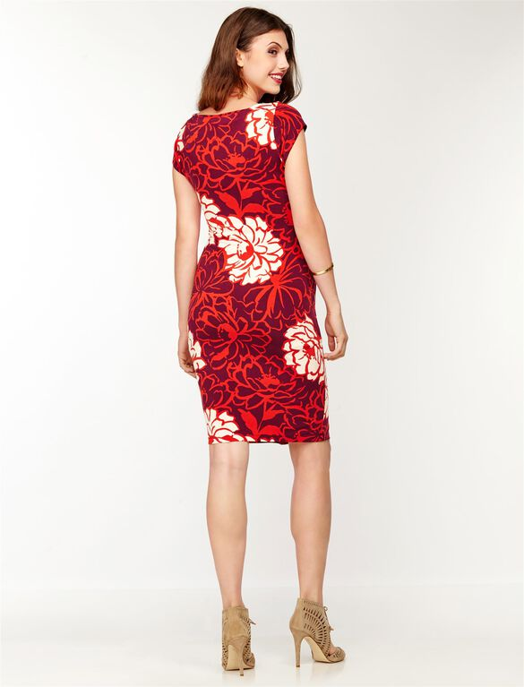 Side Tie Maternity Dress, Warm Floral Print