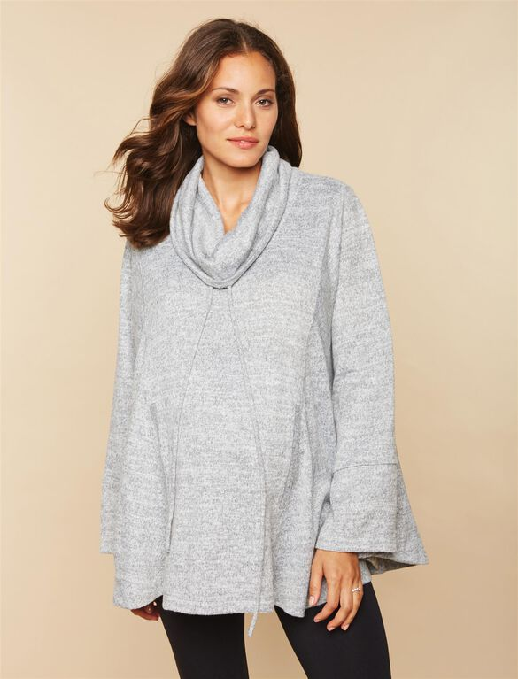 Poncho Maternity Top, Grey