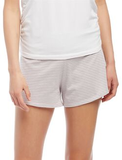 Relaxed Fit Maternity Sleep Shorts- Stripe, Chalk Pink/Pale Stone Stripe