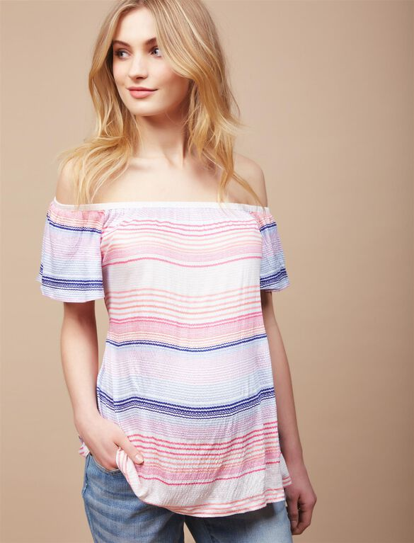 Off The Shoulder Maternity Shirt, Red/White/Blu Stripe