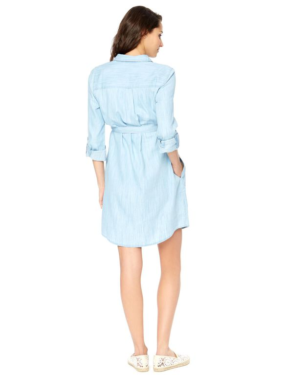 Belted Chambray Maternity Shirt Dress, Light Wash