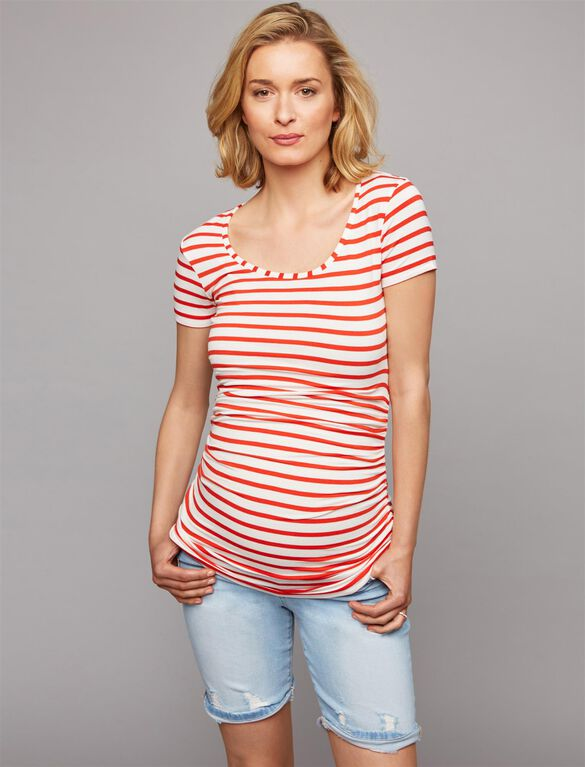 Isabella Oliver Nia Maternity Shirt, Red/White Stripe